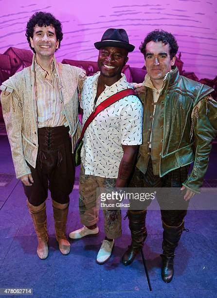 John Cariani as Nigel Bottom Taye Diggs and Brian d'Arcy James as Nick Bottom pose backstage at the hit musical Something Rotten on Broadway at The...