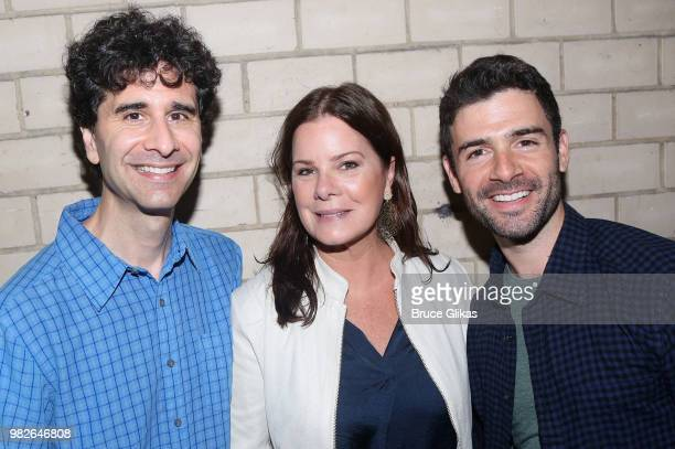 John Cariani Marcia Gay Harden and Adam Kantor pose backstage at the hit 2018 Tony Winning Best Musical 'The Band's Visit' on Broadway at The...