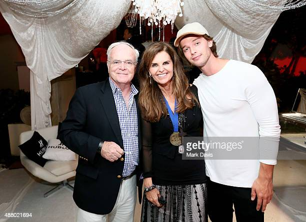 John Carlin Honorary CoChair Maria Shriver and actor Patrick Schwarzenegger attend the Hearst Castle VIP Reception during Best Buddies Hearst Castle...