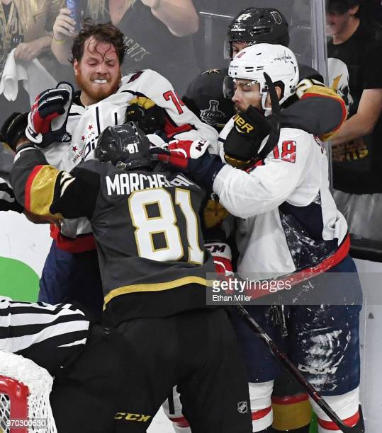 John Carlson and Chandler Stephenson of the Washington Capitals fight Jonathan Marchessault and Shea Theodore of the Vegas Golden Knights after a...