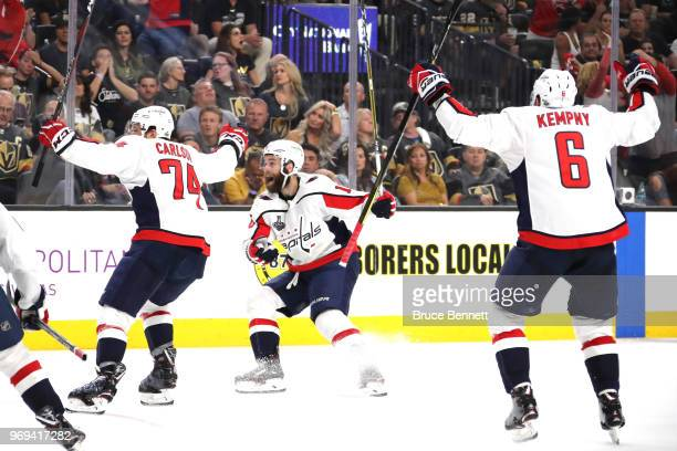 John Carlson Brett Connolly and Michal Kempny of the Washington Capitals celebrate the thirdperiod goal by teammate Lars Eller against the Vegas...