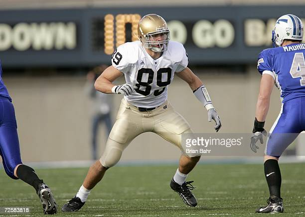 John Carlson of the Notre Dame Fighting Irish moves on the field during the game against the Air Force Falcons on November 11 2006 at Falcon Stadium...