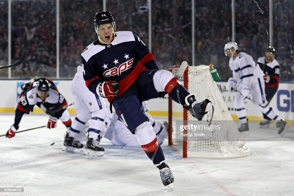 John Carlson #74 of the Washington Capitals celebrates his goal against the Toronto Maple Leafs during the second period in the Coors Light NHL Stadium Series at Navy-Marine Corps Memorial Stadium on March 3, 2018 in Annapolis, Maryland.