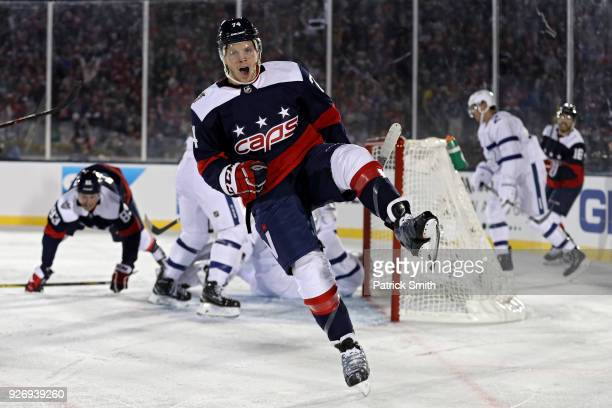 John Carlson of the Washington Capitals celebrates his goal against the Toronto Maple Leafs during the second period in the Coors Light NHL Stadium...
