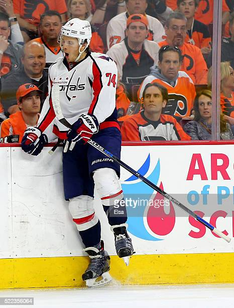 John Carlson of the Washington Capitals celebrates his goal in the third period against the Philadelphia Flyers in Game Three of the Eastern...