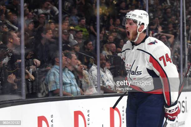 John Carlson of the Washington Capitals celebrates his second-period goal against the Vegas Golden Knights in Game One of the 2018 NHL Stanley Cup...