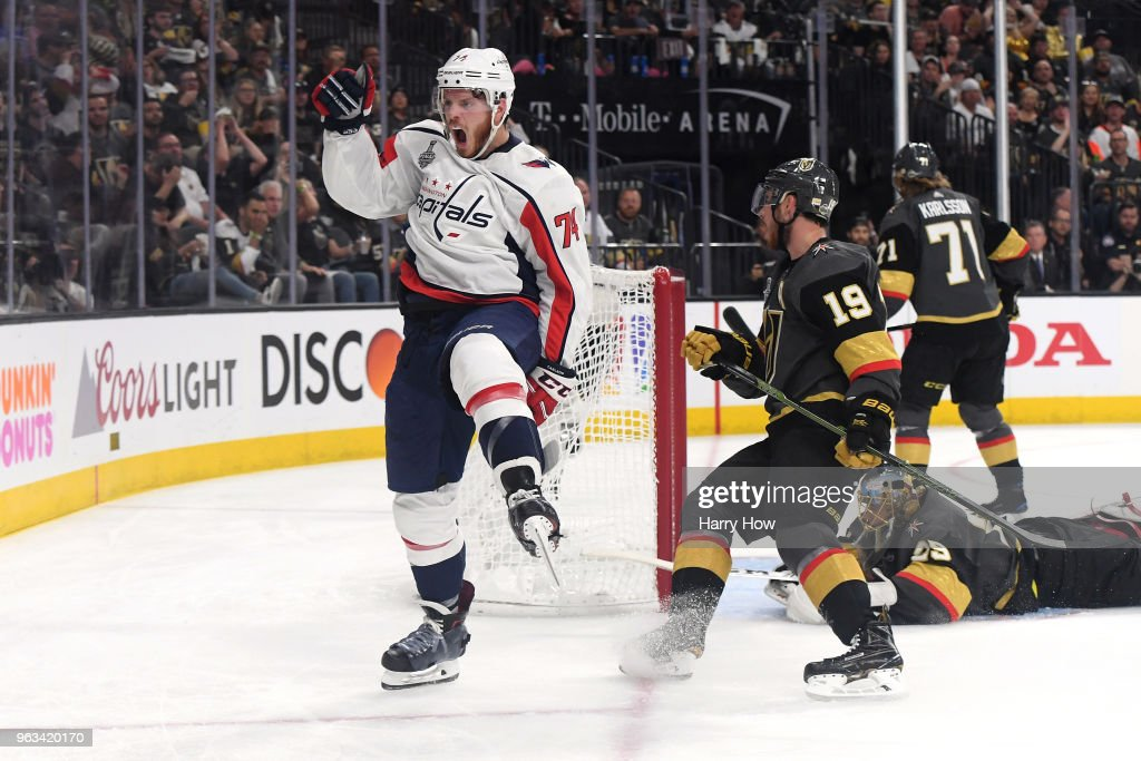 John Carlson #74 of the Washington Capitals celebrates his second-period goal past Marc-Andre Fleury #29 of the Vegas Golden Knights in Game One of the 2018 NHL Stanley Cup Final at T-Mobile Arena on May 28, 2018 in Las Vegas, Nevada.