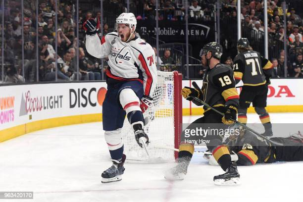 John Carlson of the Washington Capitals celebrates his second-period goal past Marc-Andre Fleury of the Vegas Golden Knights in Game One of the 2018...