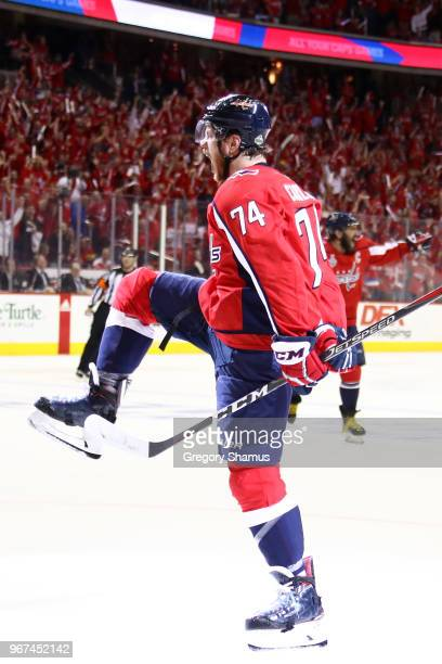 John Carlson of the Washington Capitals celebrates his secondperiod goal against the Vegas Golden Knights in Game Four of the 2018 NHL Stanley Cup...