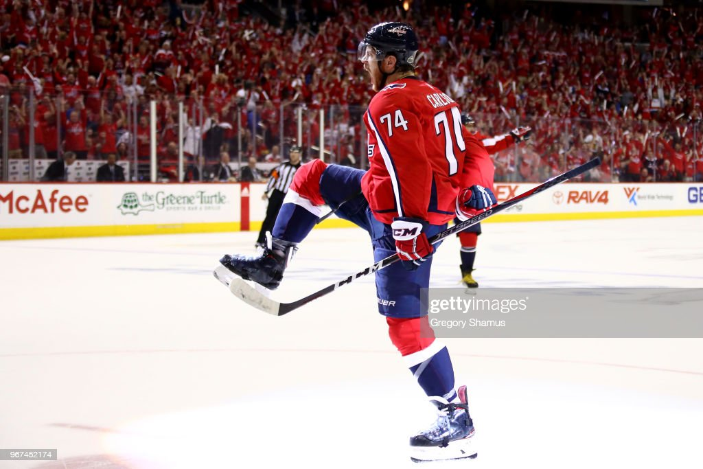 John Carlson #74 of the Washington Capitals celebrates his second-period goal against the Vegas Golden Knights in Game Four of the 2018 NHL Stanley Cup Final at Capital One Arena on June 4, 2018 in Washington, DC.