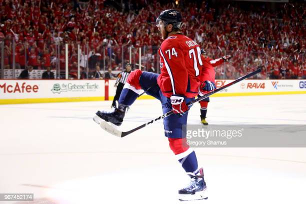 John Carlson of the Washington Capitals celebrates his second-period goal against the Vegas Golden Knights in Game Four of the 2018 NHL Stanley Cup...