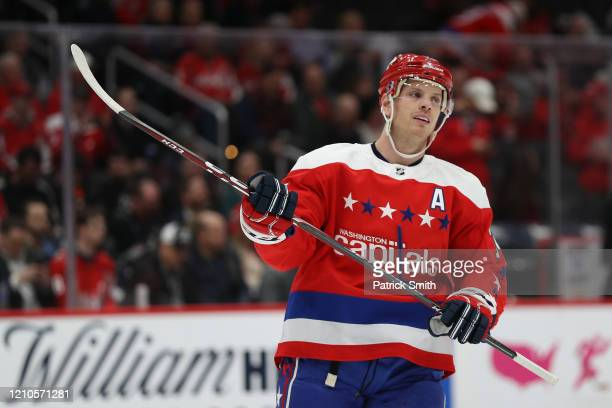 John Carlson of the Washington Capitals looks on against the Philadelphia Flyers during the first period at Capital One Arena on March 4, 2020 in...