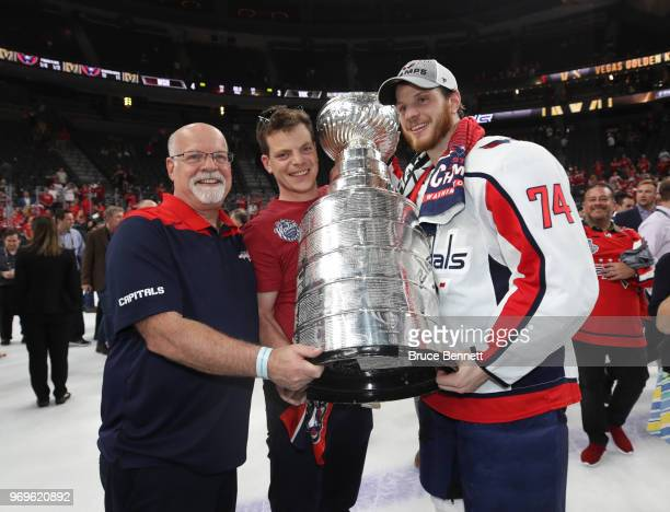 John Carlson of the Washington Capitals poses with the Stanley Cup after his team defeated the Vegas Golden Knights 43 in Game Five of the 2018 NHL...