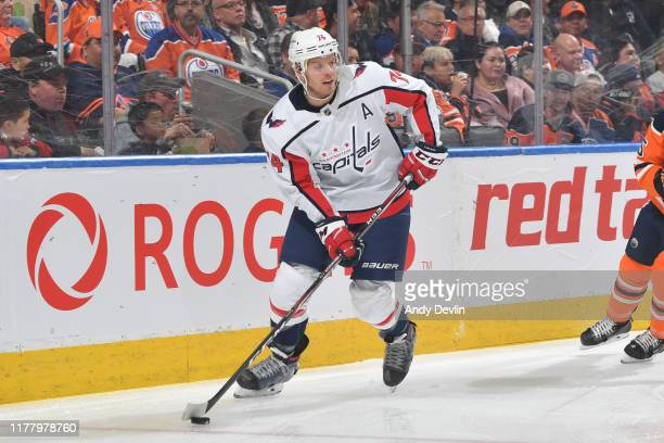 John Carlson of the Washington Capitals skates during the game against the Edmonton Oilers on October 24 at Rogers Place in Edmonton, Alberta, Canada.