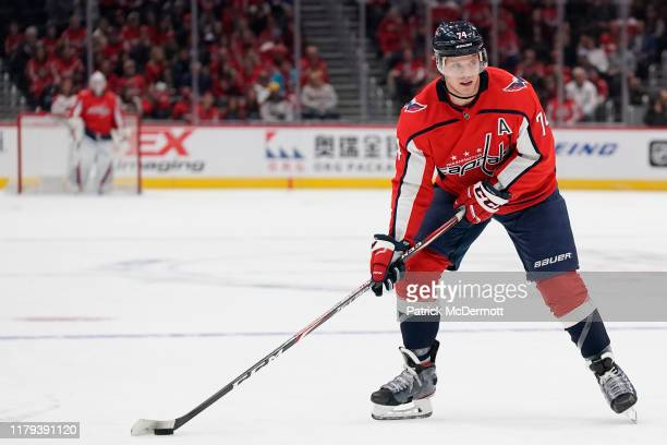 John Carlson of the Washington Capitals skates with the puck in the first period against the Buffalo Sabres at Capital One Arena on November 1, 2019...