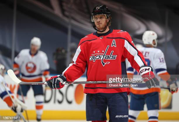 John Carlson of the Washington Capitals warms up before Game Five of the Eastern Conference First Round of the 2020 NHL Stanley Cup Playoff between...