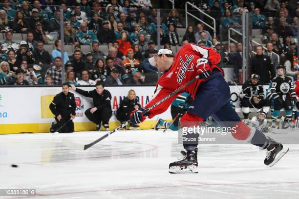 John Carlson of the Washington Capitals wins with a 102.8 mph shot in the SAP NHL Hardest Shot during the 2019 SAP NHL All-Star Skills at SAP Center...