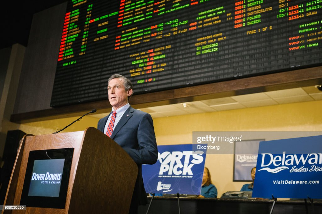 John Carney, governor of Delaware, speaks during the launch of full-scale sports betting at Dover Downs Hotel and Casino in Dover, Delaware, U.S., on Tuesday, June 5, 2018. Delawarebecame the first U.S. state aside from Nevada to allow wagers on individual professional sporting contests, just three weeks after the U.S. Supreme Court freed states to do so. Photographer: Michelle Gustafson/Bloomberg via Getty Images