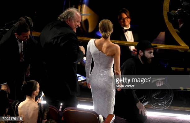 John Carrabino and Renée Zellweger react after Ms Zellweger was named winner of the the Actress in a Leading Role award for 'Judy' during the 92nd...
