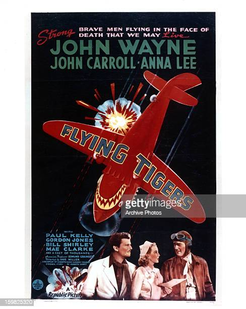 John Carroll, Anna Lee, and John Wayne in movie art for the film 'Flying Tigers', 1942.