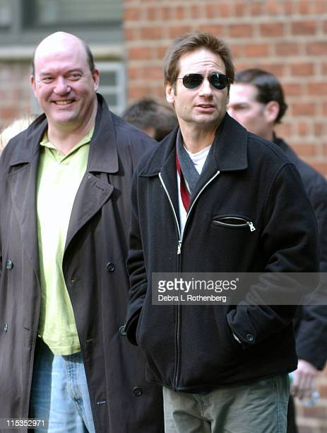 John Carroll Lynch and David Duchovny during David Duchovny on the Set of 'Trust The Man' November 5 2004 at Greenwich Village in New York City New...