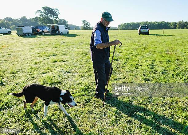 John Carter and his sheepdog Bob from North Cornwall arrive at the British National Sheep Dog Trials on August 6, 2016 in York, England. Some 150 of...
