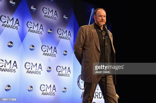 John Carter Cash speaks to the press during the 49th annual CMA Awards at the Bridgestone Arena on November 4 2015 in Nashville Tennessee
