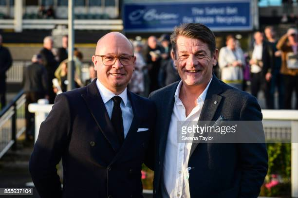 John Carver and Lee Charnley during the 125 Plate at the Newcastle Race Course on September 29 in Newcastle upon Tyne England