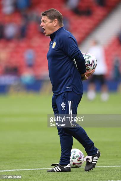 John Carver, Assistant Coach of Scotland reacts during the warm up prior to the UEFA Euro 2020 Championship Group D match between Scotland v Czech...