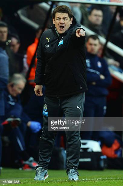 John Carver interim manager of Newcastle United gives instructions during the Barclays Premier League match between Newcastle United and Stoke City...