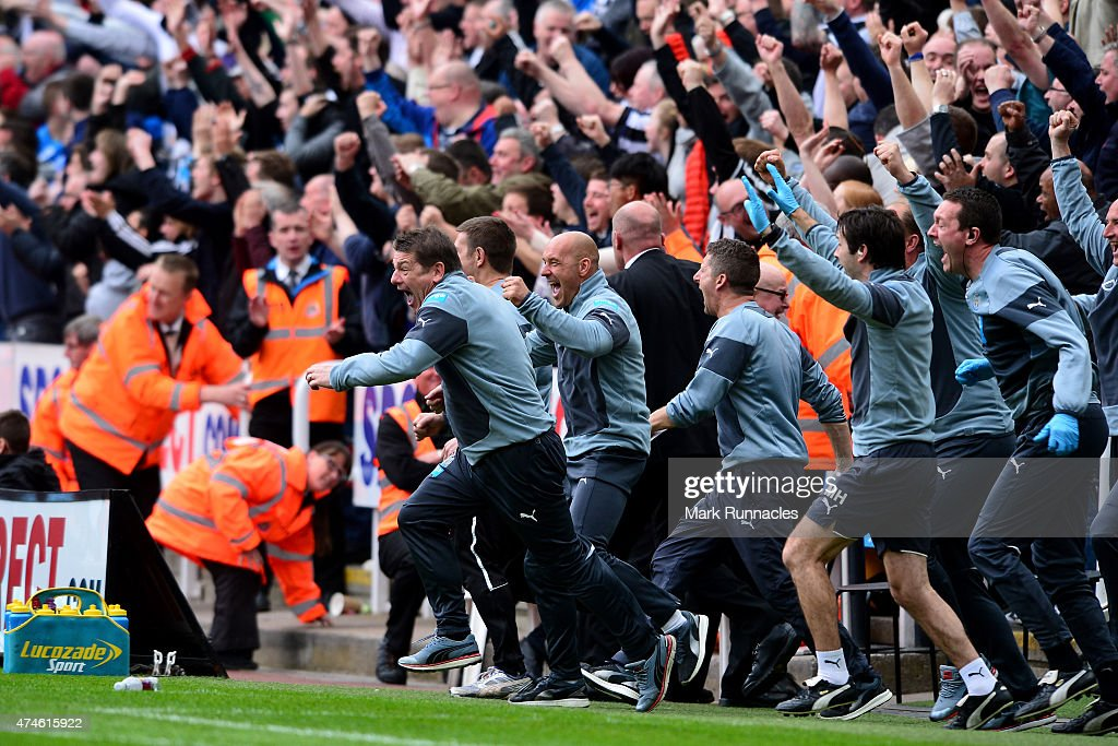 John Carver manager of Newcastle United celebrates his team's second goal during the Barclays Premier League match between Newcastle United and West Ham United at St James' Park on May 24, 2015 in Newcastle upon Tyne, England.