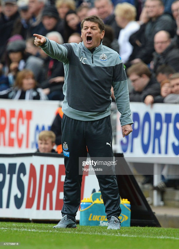 John Carver manager of Newcastle United shouts during the Barclays Premier League match between Newcastle United and West Bromwich Albion at St James' Park on May 9, 2015 in Newcastle upon Tyne, England.