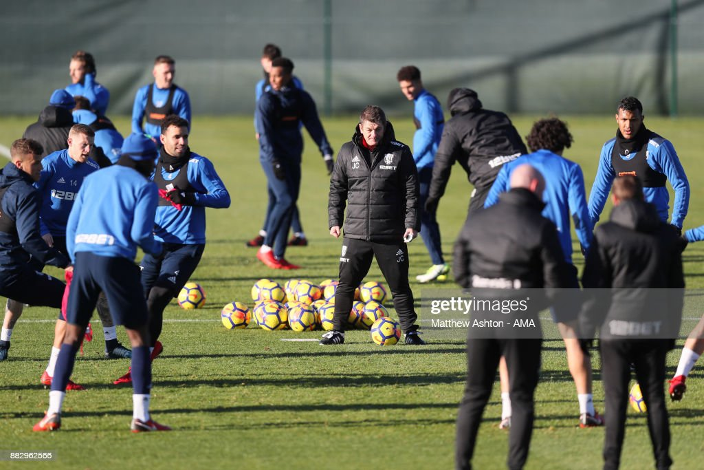 John Carver the first team coach of West Bromwich Albion during a training session on November 30, 2017 in West Bromwich, England.