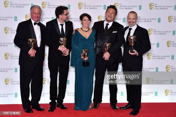 John Casali Tim Cavagin Nina Hartstone Paul Massey John Warhurst pose with their awards for Sound for their work on the film 'Bohemian Rhapsody' at...