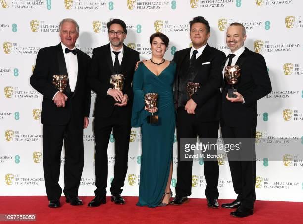 John Casali Tim Cavagin Nina Hartstone Paul Massey John Warhurst pose with their awards for Sound for their work on the film 'Bohemian Rhapsody' in...