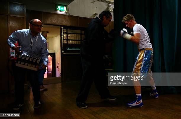 John Cash prepares backstage before his middleweight bout against Illja Baltkas at York Hall on March 8 2014 in London England