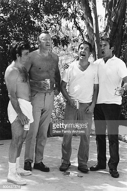 John Cassavetes Peter Falk Ben Gazzara and David Rowlands in 1969 during the filming of Husbands in Los Angeles California