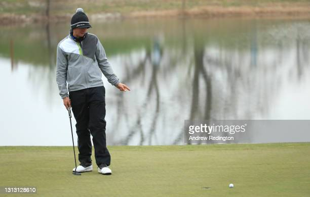 John Catlin of USA reacts to a missed birdie putt on the 18th hole during Day Four of the Austrian Golf Open at Diamond Country Club on April 18,...