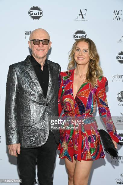 John Caudwell and Modesta Vzesniauskaite attend the Amber Lounge 2021 Fashion Show on May 21, 2021 in Monte-Carlo, Monaco.