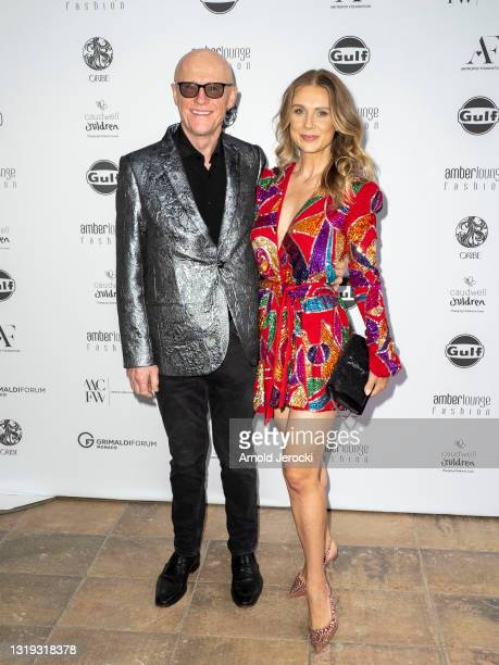 John Caudwell and Modesta Vzesniauskaite attends the Amber Lounge 2021 Fashion Show on May 21, 2021 in Monte-Carlo, Monaco.
