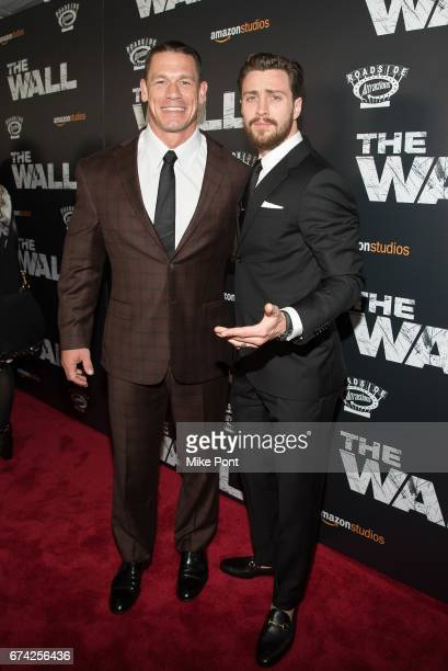 John Cena and Aaron TaylorJohnson attend 'The Wall' World Premiere at Regal Union Square Theatre Stadium 14 on April 27 2017 in New York City