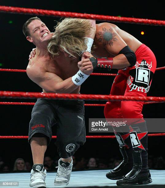 John Cena and Edge Lita lock horns during the WWE RAW Superslam event at Acer Arena Homebush Stadium in Sydney on August 4 2006