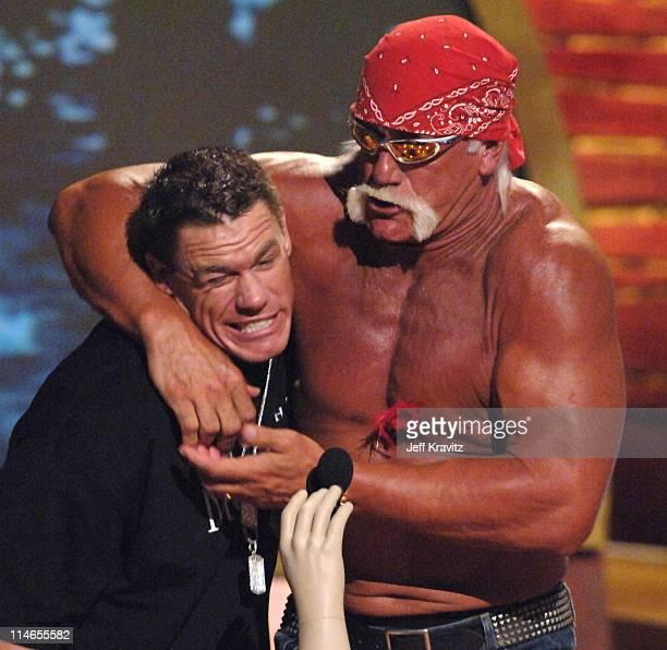 John Cena and Hulk Hogan during 2005 Teen Choice Awards - Show at Gibson Amphitheater in Universal City, California, United States.