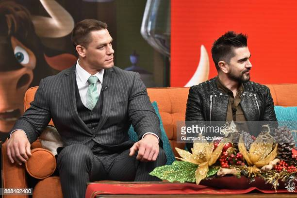 John Cena and Juanes are seen on the set of 'Despierta America' to promote the film 'Ferdinand' at Univision Studios on December 8 2017 in Miami...