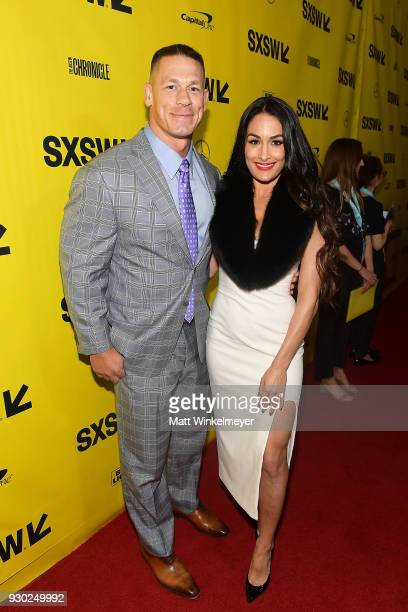 John Cena and Nikki Bella attend the Blockers Premiere 2018 SXSW Conference and Festivals at Paramount Theatre on March 10 2018 in Austin Texas