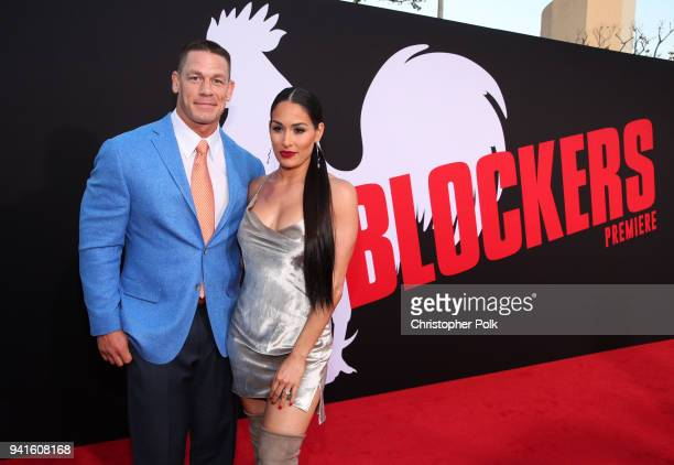 John Cena and Nikki Bella attend the premiere of Universal Pictures' 'Blockers' at Regency Village Theatre on April 3 2018 in Westwood California