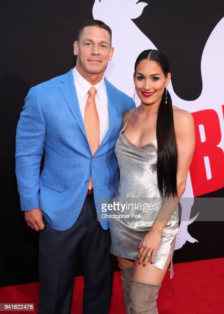 John Cena and Nikki Bella attend the premiere of Universal Pictures' Blockers at Regency Village Theatre on April 3 2018 in Westwood California