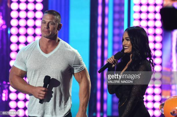 John Cena and Nikki Bella on stage at the 30th Annual Nickelodeon Kids' Choice Awards March 11 at the Galen Center on the University of Southern...