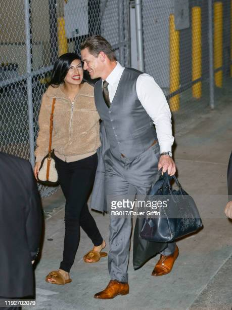 John Cena and Shay Shariatzade are seen arriving at the 'Jimmy Kimmel Live' on January 08 2020 in Los Angeles California
