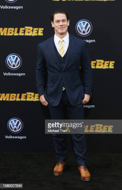 John Cena arrives to the Los Angeles premiere of Paramount Pictures' 'Bumblebee' held at TCL Chinese Theatre on December 09 2018 in Hollywood...